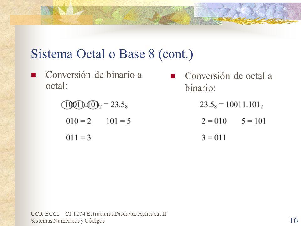 UCR-ECCI CI-1204 Estructuras Discretas Aplicadas II Sistemas Numéricos y Códigos Sistema Octal o Base 8 (cont.) Conversión de binario a octal: Convers