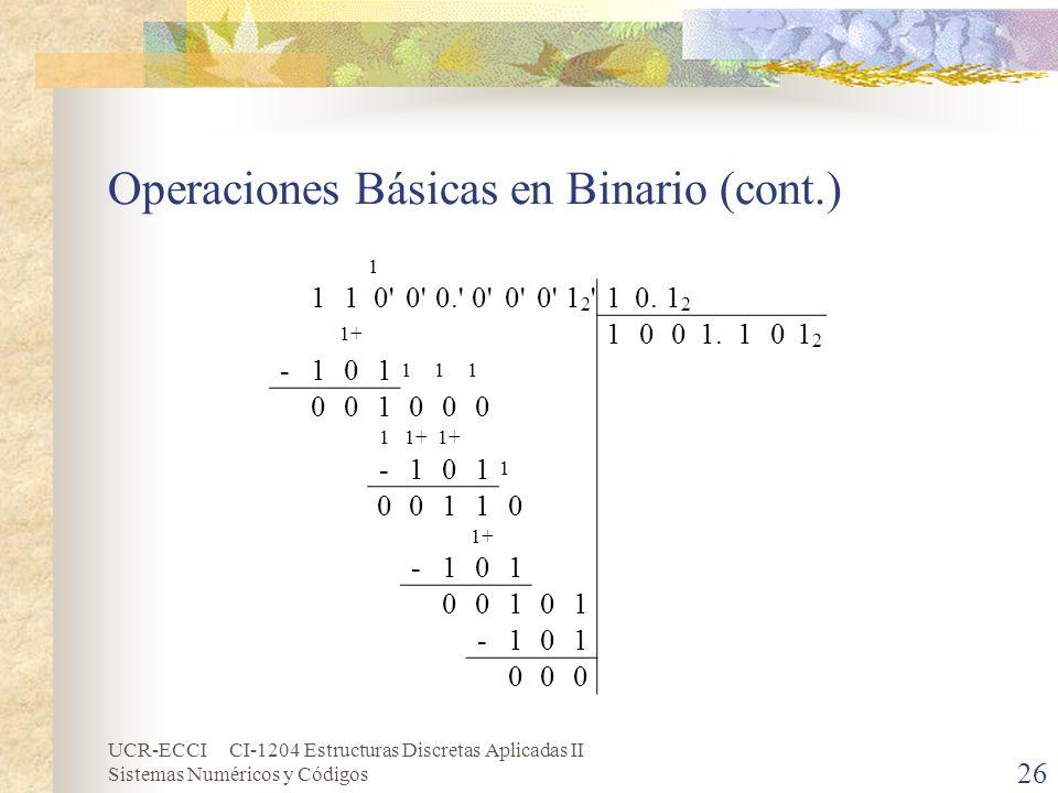 UCR-ECCI CI-1204 Estructuras Discretas Aplicadas II Sistemas Numéricos y Códigos Operaciones Básicas en Binario (cont.) 26 1 110' 0.'0' 12'12'10.1212