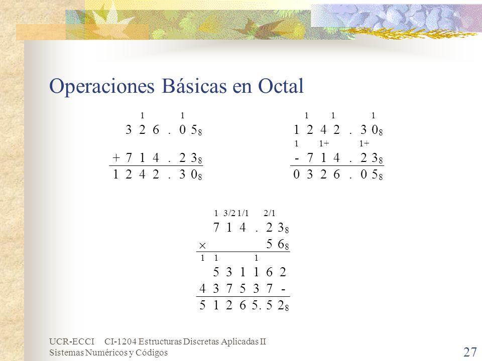 UCR-ECCI CI-1204 Estructuras Discretas Aplicadas II Sistemas Numéricos y Códigos Operaciones Básicas en Octal 27 11 326.05858 +714.23838 1242.30808 11