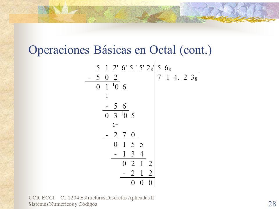 UCR-ECCI CI-1204 Estructuras Discretas Aplicadas II Sistemas Numéricos y Códigos Operaciones Básicas en Octal (cont.) 28 512'6'5.'5'28'28'56868 -50271