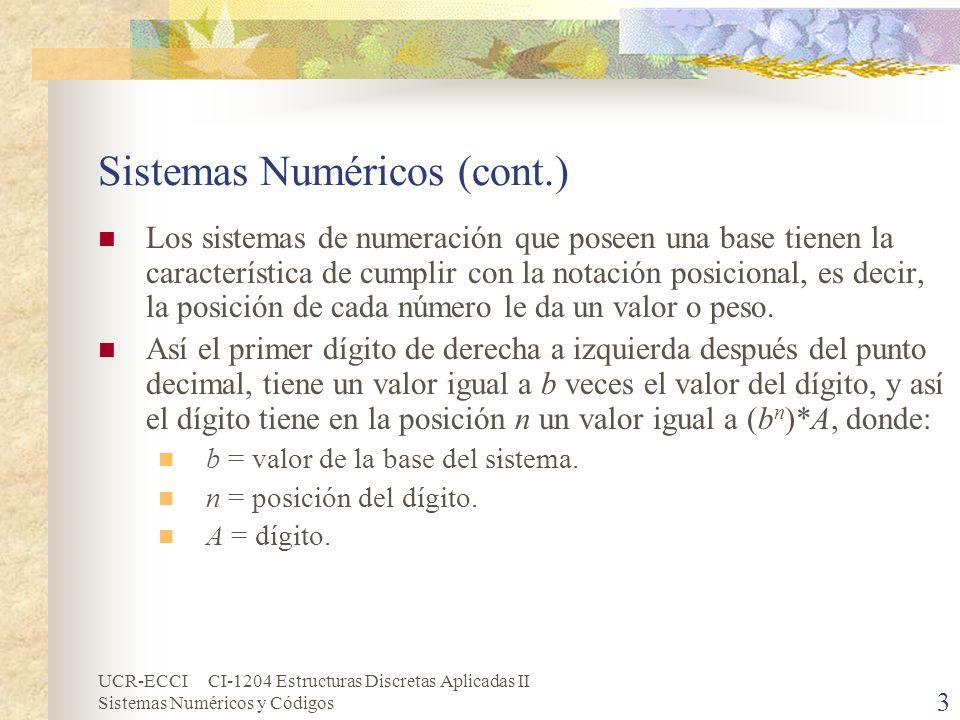 UCR-ECCI CI-1204 Estructuras Discretas Aplicadas II Sistemas Numéricos y Códigos 3 Sistemas Numéricos (cont.) Los sistemas de numeración que poseen un