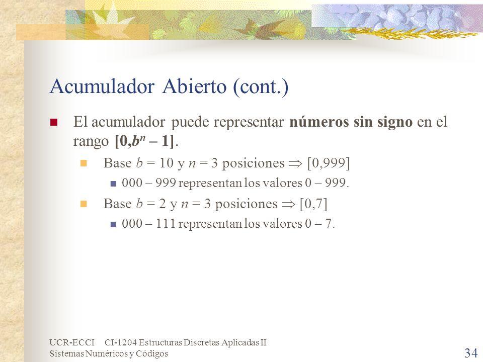 UCR-ECCI CI-1204 Estructuras Discretas Aplicadas II Sistemas Numéricos y Códigos Acumulador Abierto (cont.) El acumulador puede representar números si