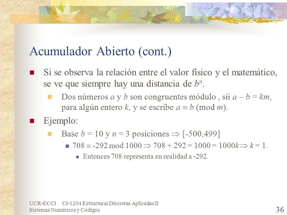 UCR-ECCI CI-1204 Estructuras Discretas Aplicadas II Sistemas Numéricos y Códigos Acumulador Abierto (cont.) Si se observa la relación entre el valor f