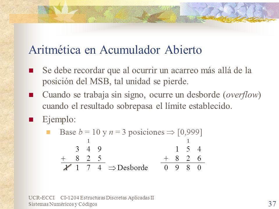 UCR-ECCI CI-1204 Estructuras Discretas Aplicadas II Sistemas Numéricos y Códigos Aritmética en Acumulador Abierto Se debe recordar que al ocurrir un a
