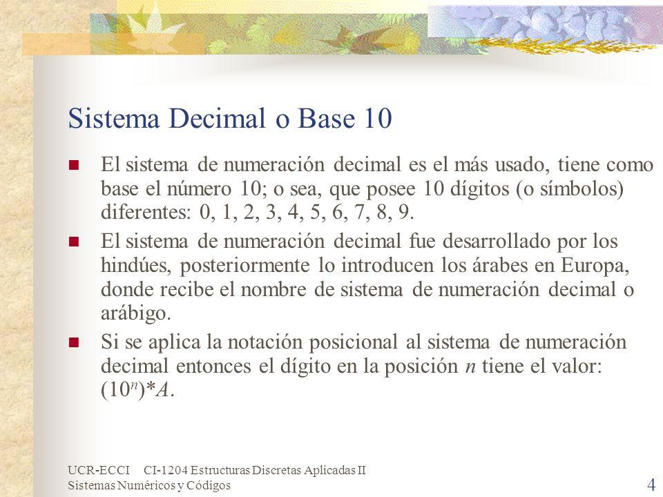 UCR-ECCI CI-1204 Estructuras Discretas Aplicadas II Sistemas Numéricos y Códigos 4 Sistema Decimal o Base 10 El sistema de numeración decimal es el má
