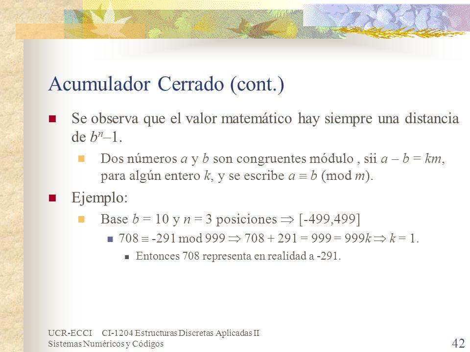 UCR-ECCI CI-1204 Estructuras Discretas Aplicadas II Sistemas Numéricos y Códigos Acumulador Cerrado (cont.) Se observa que el valor matemático hay sie