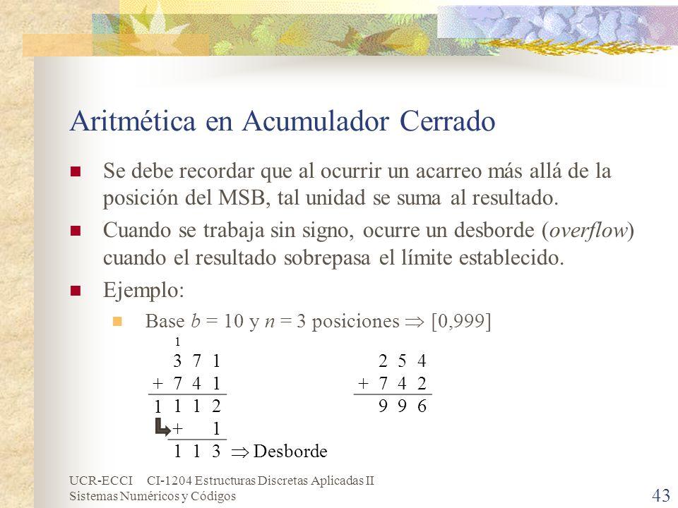 UCR-ECCI CI-1204 Estructuras Discretas Aplicadas II Sistemas Numéricos y Códigos Aritmética en Acumulador Cerrado Se debe recordar que al ocurrir un a