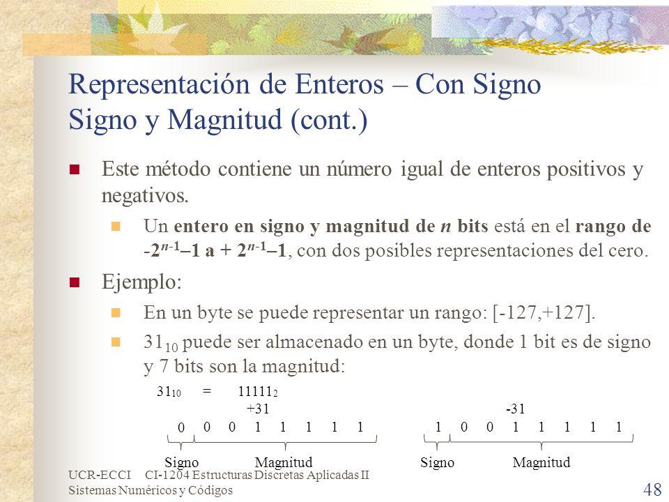 UCR-ECCI CI-1204 Estructuras Discretas Aplicadas II Sistemas Numéricos y Códigos Representación de Enteros – Con Signo Signo y Magnitud (cont.) Este m