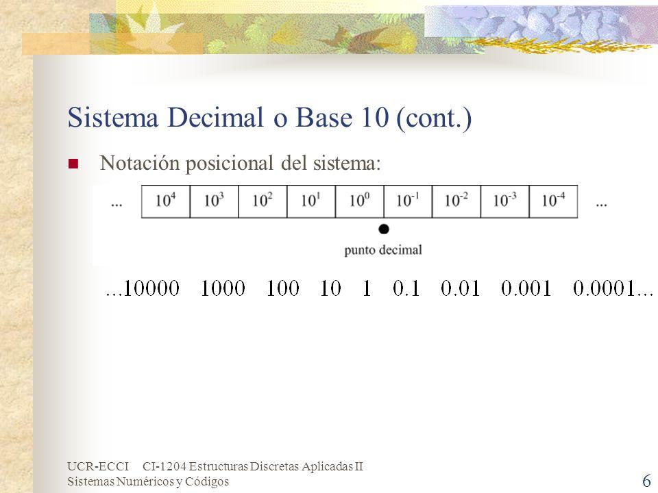 UCR-ECCI CI-1204 Estructuras Discretas Aplicadas II Sistemas Numéricos y Códigos 6 Sistema Decimal o Base 10 (cont.) Notación posicional del sistema:
