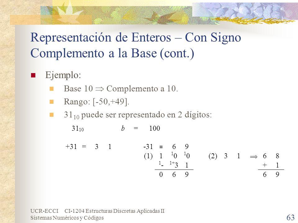 UCR-ECCI CI-1204 Estructuras Discretas Aplicadas II Sistemas Numéricos y Códigos Representación de Enteros – Con Signo Complemento a la Base (cont.) E