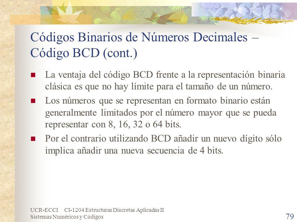 UCR-ECCI CI-1204 Estructuras Discretas Aplicadas II Sistemas Numéricos y Códigos Códigos Binarios de Números Decimales – Código BCD (cont.) La ventaja