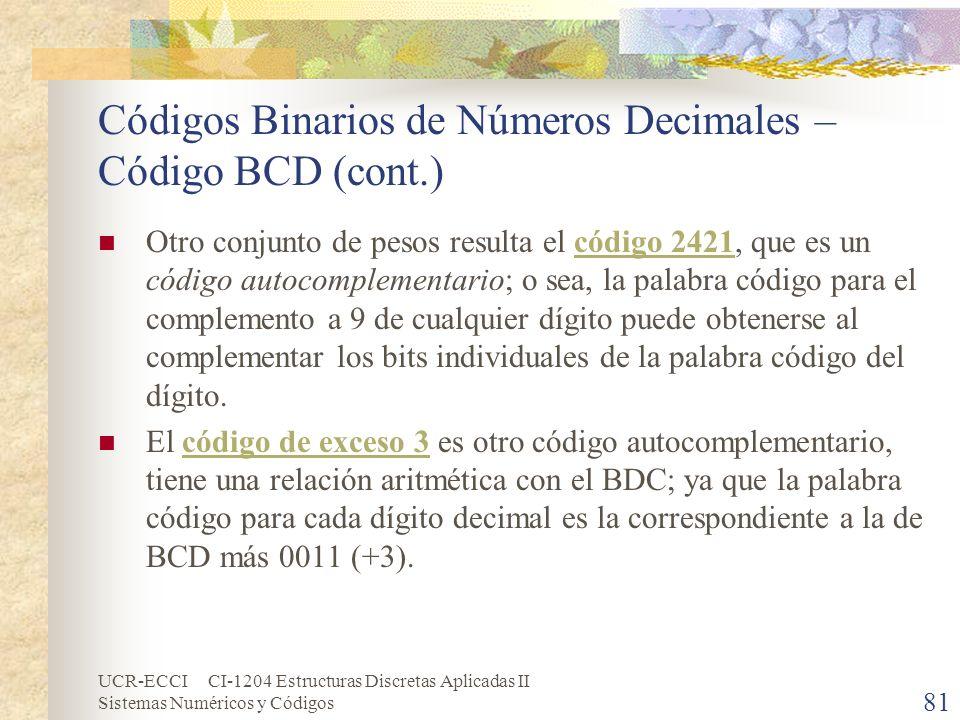 UCR-ECCI CI-1204 Estructuras Discretas Aplicadas II Sistemas Numéricos y Códigos Códigos Binarios de Números Decimales – Código BCD (cont.) Otro conju
