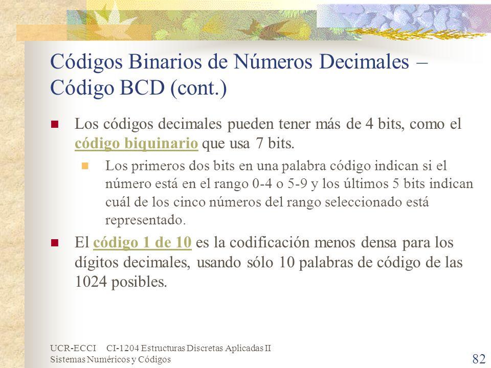 UCR-ECCI CI-1204 Estructuras Discretas Aplicadas II Sistemas Numéricos y Códigos Códigos Binarios de Números Decimales – Código BCD (cont.) Los código