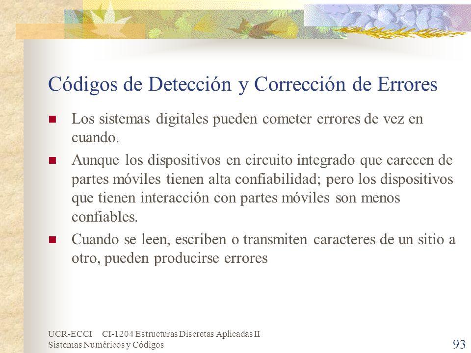 UCR-ECCI CI-1204 Estructuras Discretas Aplicadas II Sistemas Numéricos y Códigos Códigos de Detección y Corrección de Errores Los sistemas digitales p