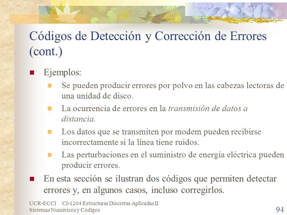 UCR-ECCI CI-1204 Estructuras Discretas Aplicadas II Sistemas Numéricos y Códigos Códigos de Detección y Corrección de Errores (cont.) Ejemplos: Se pue