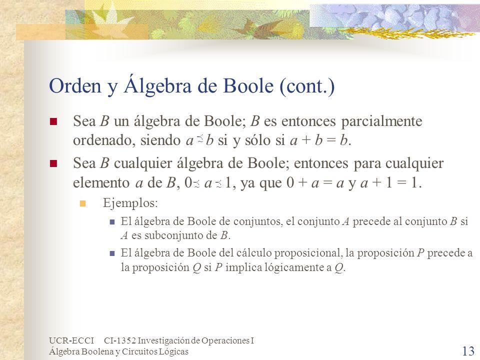 UCR-ECCI CI-1352 Investigación de Operaciones I Álgebra Boolena y Circuitos Lógicas 13 Orden y Álgebra de Boole (cont.) Sea B un álgebra de Boole; B e