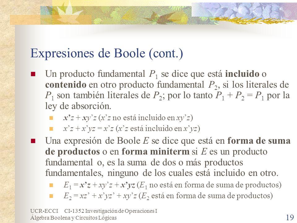UCR-ECCI CI-1352 Investigación de Operaciones I Álgebra Boolena y Circuitos Lógicas 19 Expresiones de Boole (cont.) Un producto fundamental P 1 se dic