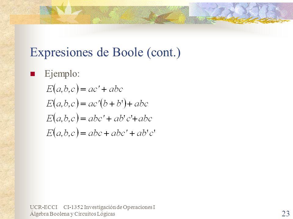 UCR-ECCI CI-1352 Investigación de Operaciones I Álgebra Boolena y Circuitos Lógicas 23 Expresiones de Boole (cont.) Ejemplo: