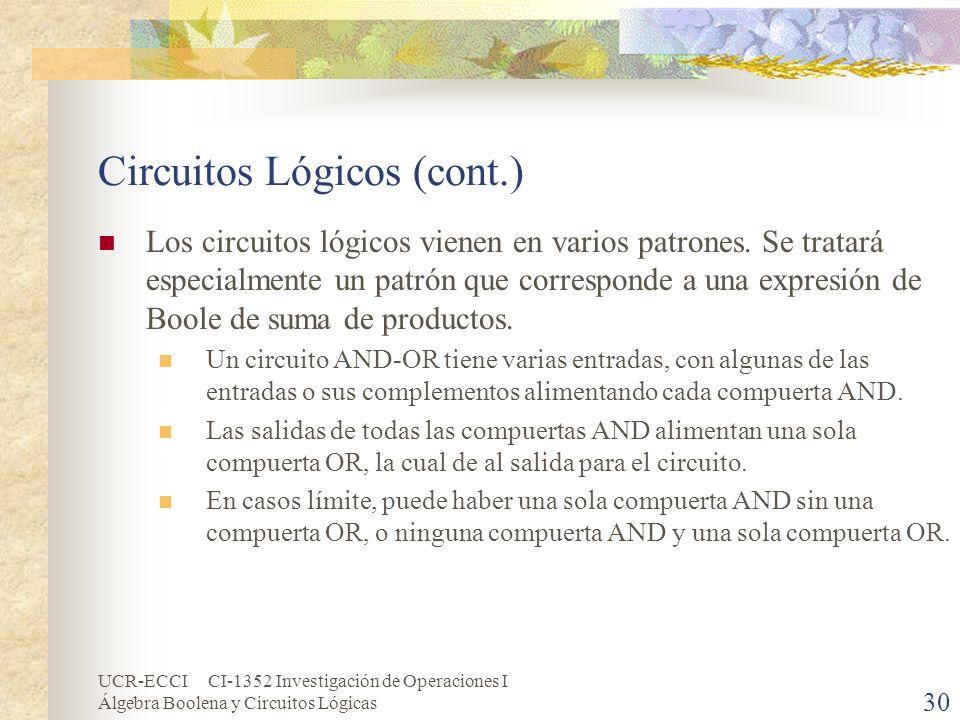 UCR-ECCI CI-1352 Investigación de Operaciones I Álgebra Boolena y Circuitos Lógicas 30 Circuitos Lógicos (cont.) Los circuitos lógicos vienen en vario