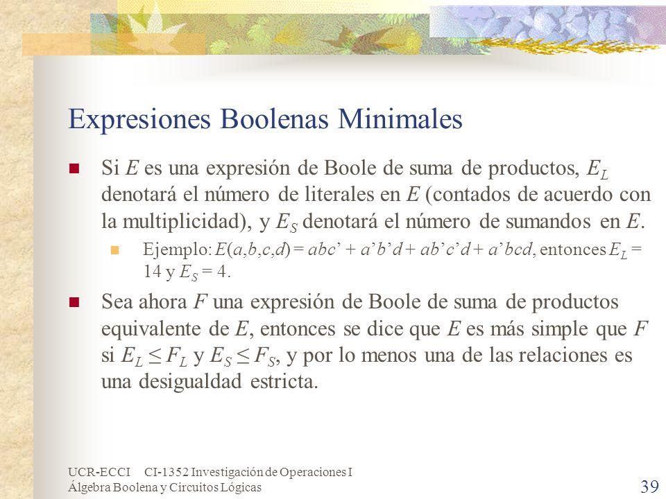 UCR-ECCI CI-1352 Investigación de Operaciones I Álgebra Boolena y Circuitos Lógicas 39 Expresiones Boolenas Minimales Si E es una expresión de Boole d
