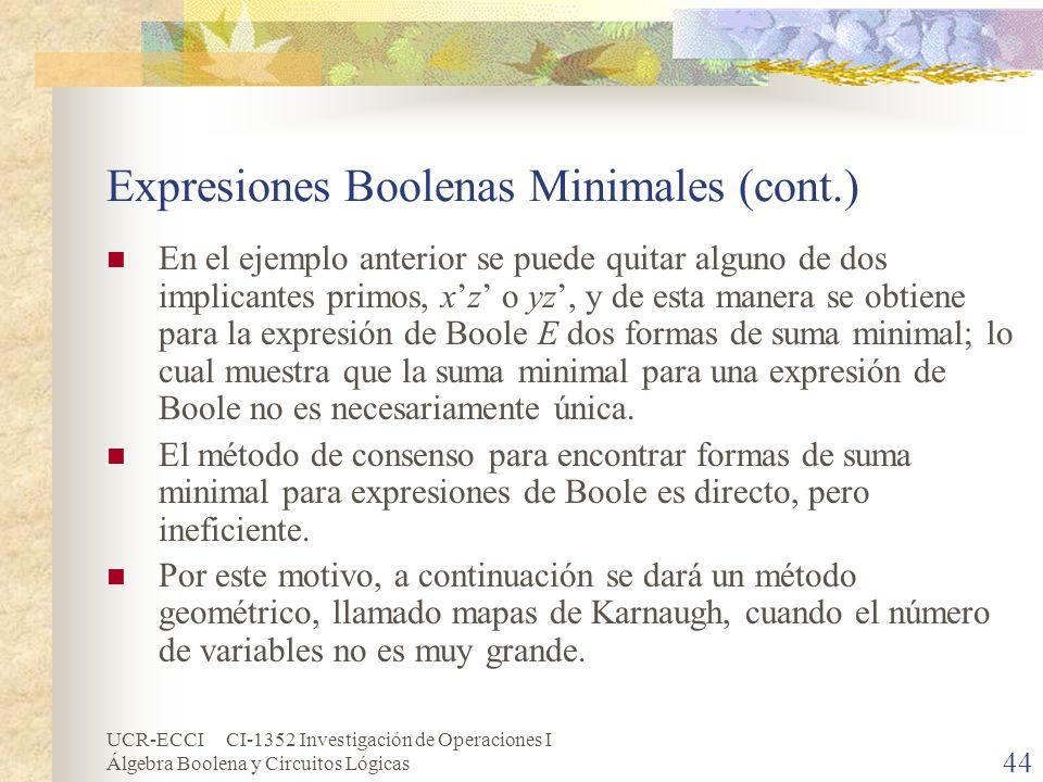 UCR-ECCI CI-1352 Investigación de Operaciones I Álgebra Boolena y Circuitos Lógicas 44 Expresiones Boolenas Minimales (cont.) En el ejemplo anterior s