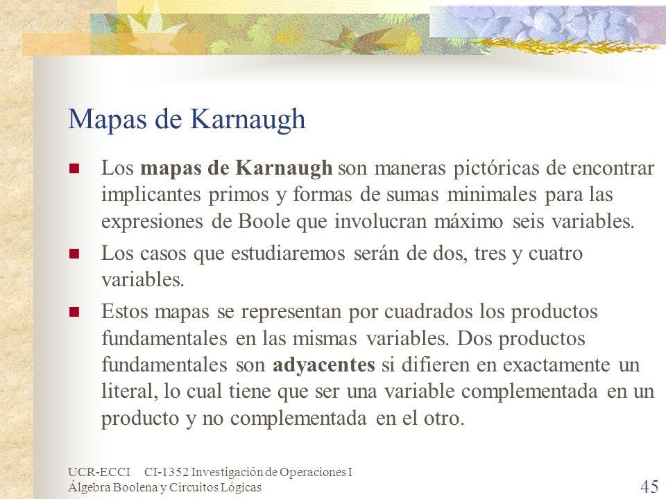 UCR-ECCI CI-1352 Investigación de Operaciones I Álgebra Boolena y Circuitos Lógicas 45 Mapas de Karnaugh Los mapas de Karnaugh son maneras pictóricas