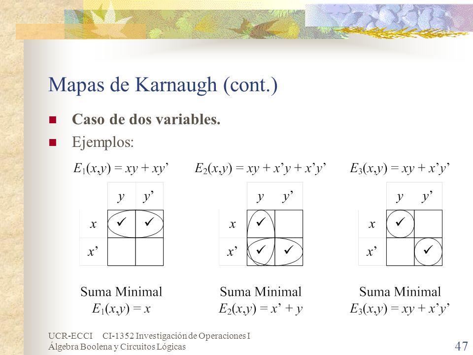 UCR-ECCI CI-1352 Investigación de Operaciones I Álgebra Boolena y Circuitos Lógicas 47 Mapas de Karnaugh (cont.) Caso de dos variables. Ejemplos: