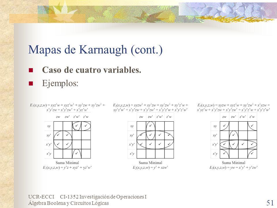 UCR-ECCI CI-1352 Investigación de Operaciones I Álgebra Boolena y Circuitos Lógicas 51 Mapas de Karnaugh (cont.) Caso de cuatro variables. Ejemplos: