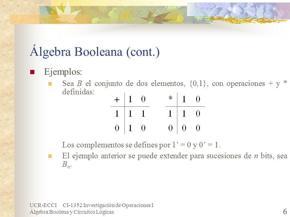UCR-ECCI CI-1352 Investigación de Operaciones I Álgebra Boolena y Circuitos Lógicas 17 Expresiones de Boole Una expresión booleana E en un conjunto de variables (x 1, x 2, …, x n ), algunas veces escrito E(x 1, x 2, …, x n ), es una variable o una expresión construida con estas variables que usan las operaciones booleanas +, * y.