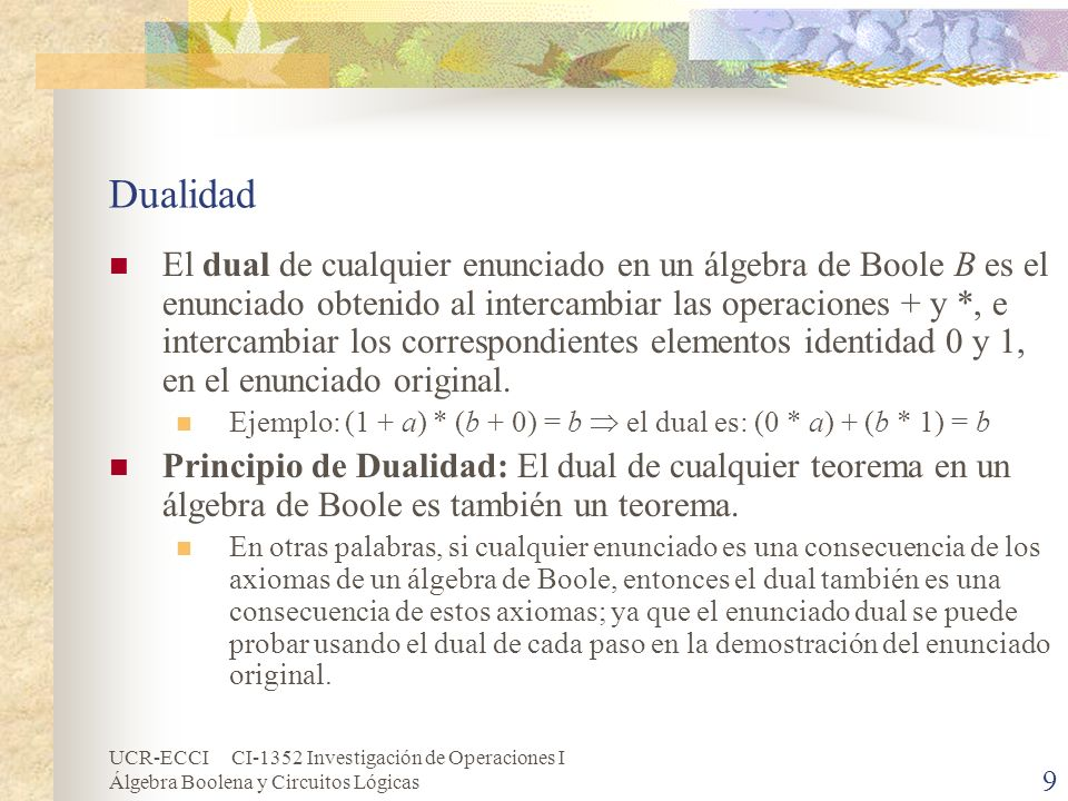 UCR-ECCI CI-1352 Investigación de Operaciones I Álgebra Boolena y Circuitos Lógicas 20 Expresiones de Boole (cont.) Toda expresión de Boole no nula E se puede poner en forma de suma de productos con el siguiente procedimiento: Usando las leyes de DeMorgan y la involución, se puede mover la operación de complemento dentro de cualquier paréntesis hasta que finalmente se aplique solamente a variables.