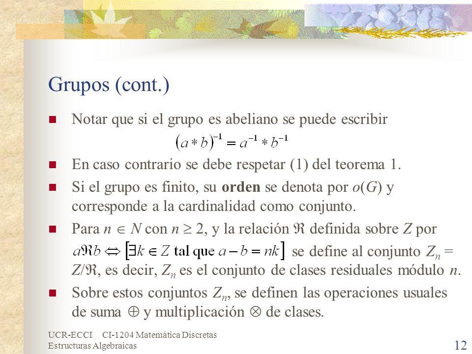 UCR-ECCI CI-1204 Matemática Discretas Estructuras Algebraicas Grupos (cont.) Notar que si el grupo es abeliano se puede escribir En caso contrario se