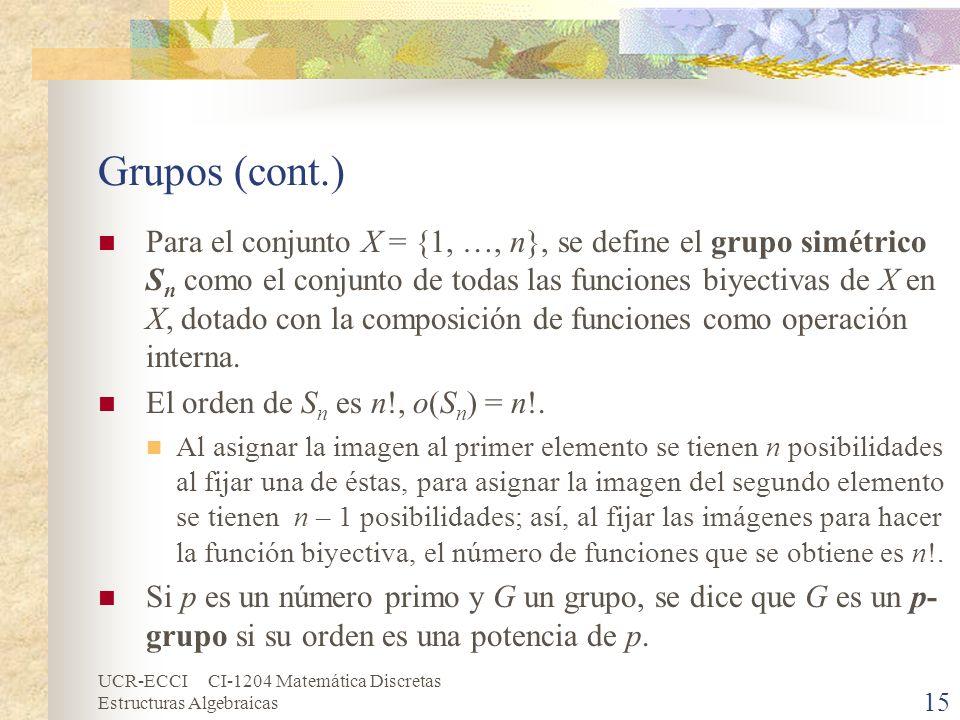 UCR-ECCI CI-1204 Matemática Discretas Estructuras Algebraicas Grupos (cont.) Para el conjunto X = {1, …, n}, se define el grupo simétrico S n como el