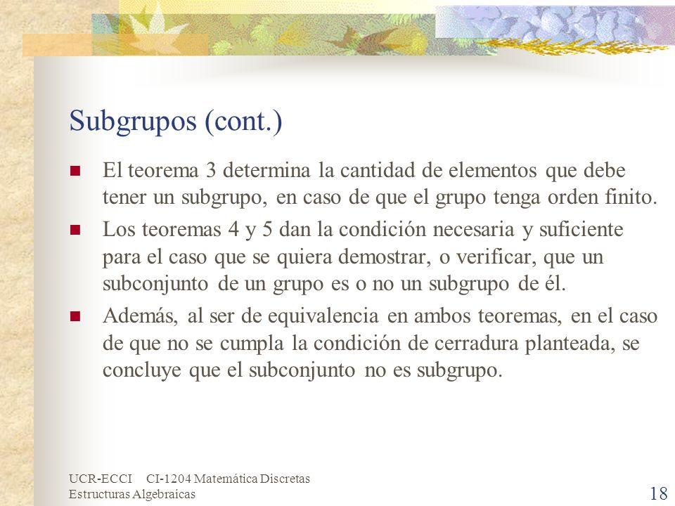 UCR-ECCI CI-1204 Matemática Discretas Estructuras Algebraicas Subgrupos (cont.) El teorema 3 determina la cantidad de elementos que debe tener un subg