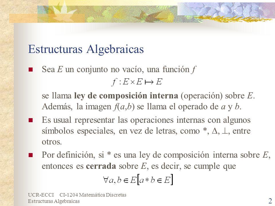 UCR-ECCI CI-1204 Matemática Discretas Estructuras Algebraicas 2 Sea E un conjunto no vacío, una función f se llama ley de composición interna (operaci