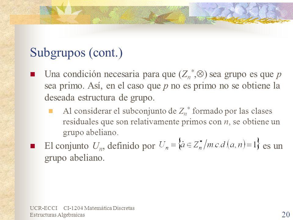 UCR-ECCI CI-1204 Matemática Discretas Estructuras Algebraicas Subgrupos (cont.) Una condición necesaria para que (Z n *, ) sea grupo es que p sea prim