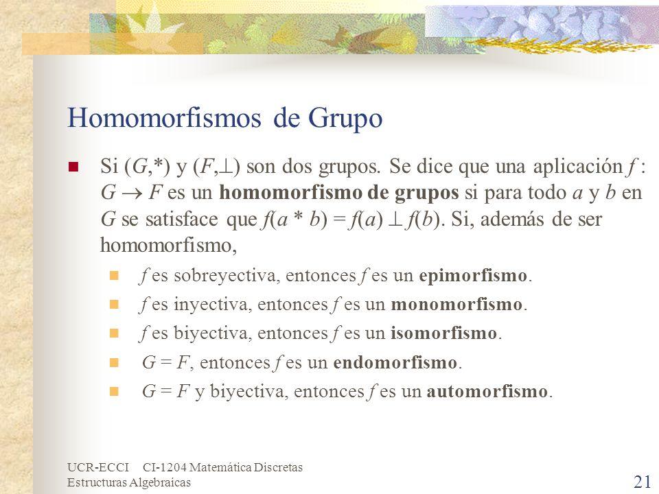 UCR-ECCI CI-1204 Matemática Discretas Estructuras Algebraicas Homomorfismos de Grupo Si (G,*) y (F, ) son dos grupos. Se dice que una aplicación f : G
