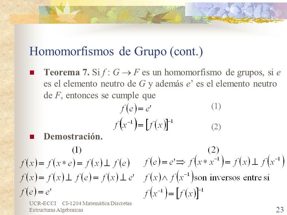 UCR-ECCI CI-1204 Matemática Discretas Estructuras Algebraicas Homomorfismos de Grupo (cont.) Teorema 7. Si f : G F es un homomorfismo de grupos, si e