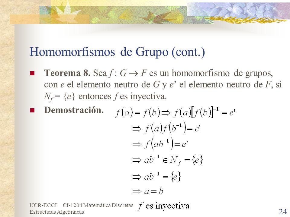 UCR-ECCI CI-1204 Matemática Discretas Estructuras Algebraicas Homomorfismos de Grupo (cont.) Teorema 8. Sea f : G F es un homomorfismo de grupos, con