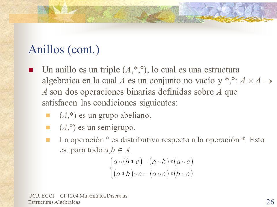 UCR-ECCI CI-1204 Matemática Discretas Estructuras Algebraicas Anillos (cont.) Un anillo es un triple (A,*, ), lo cual es una estructura algebraica en