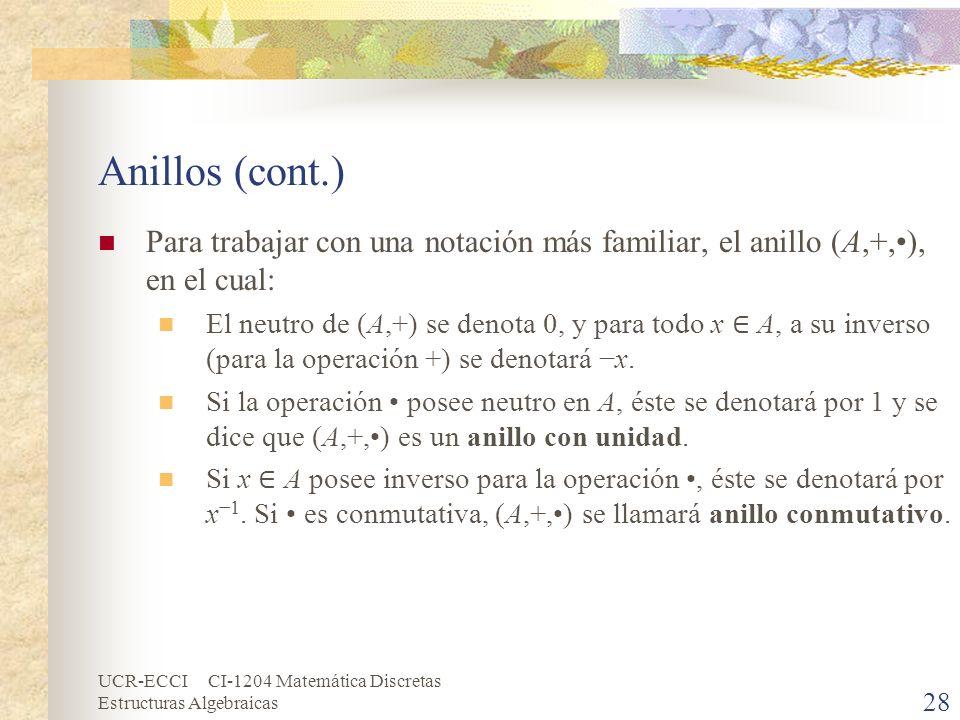 UCR-ECCI CI-1204 Matemática Discretas Estructuras Algebraicas Anillos (cont.) Para trabajar con una notación más familiar, el anillo (A,+,), en el cua