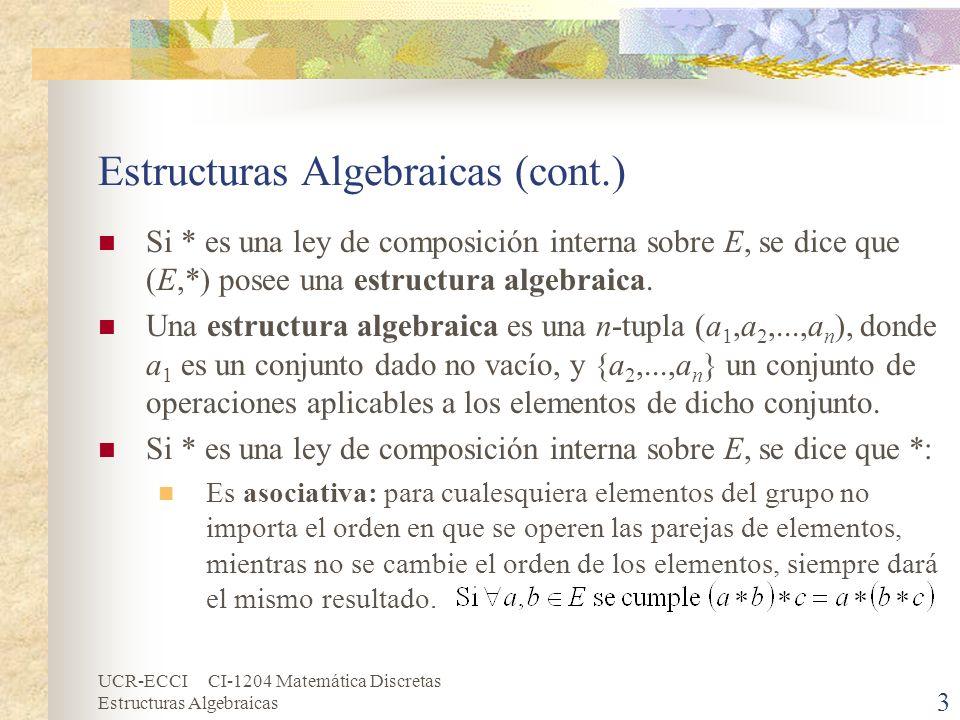 UCR-ECCI CI-1204 Matemática Discretas Estructuras Algebraicas 3 Estructuras Algebraicas (cont.) Si * es una ley de composición interna sobre E, se dic