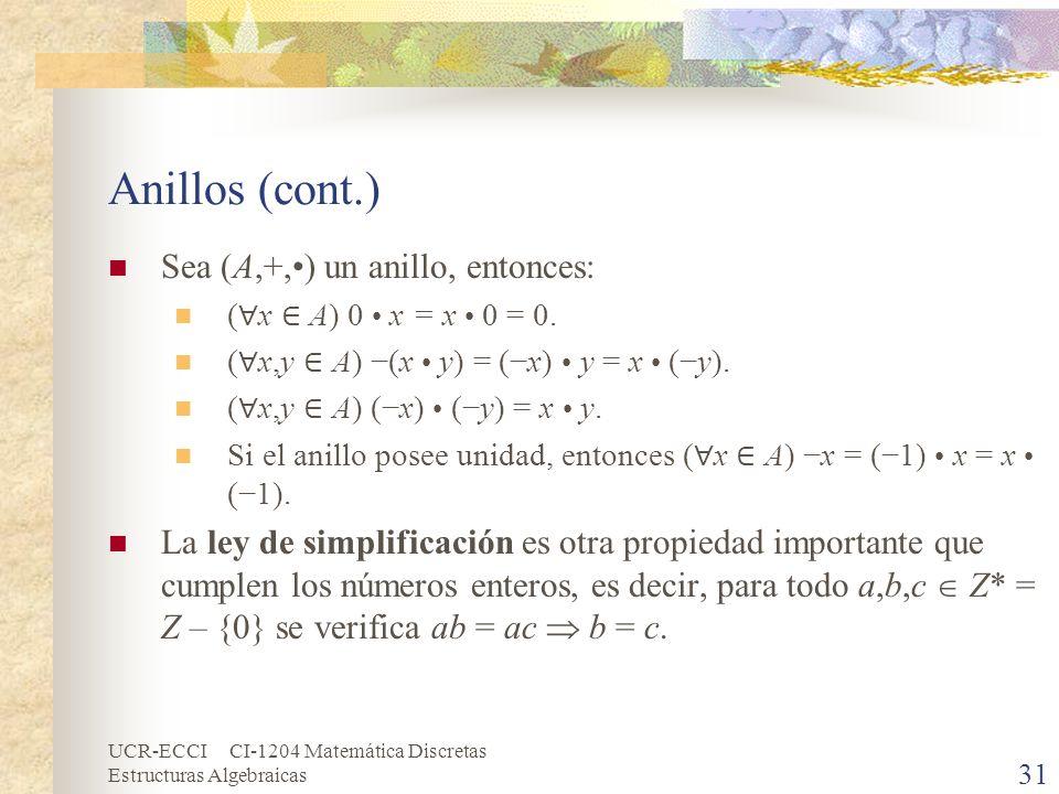 UCR-ECCI CI-1204 Matemática Discretas Estructuras Algebraicas Anillos (cont.) Sea (A,+,) un anillo, entonces: ( x A) 0 x = x 0 = 0. ( x,y A) (x y) = (