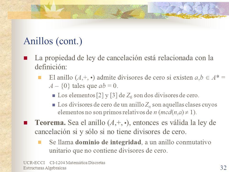 UCR-ECCI CI-1204 Matemática Discretas Estructuras Algebraicas Anillos (cont.) La propiedad de ley de cancelación está relacionada con la definición: E
