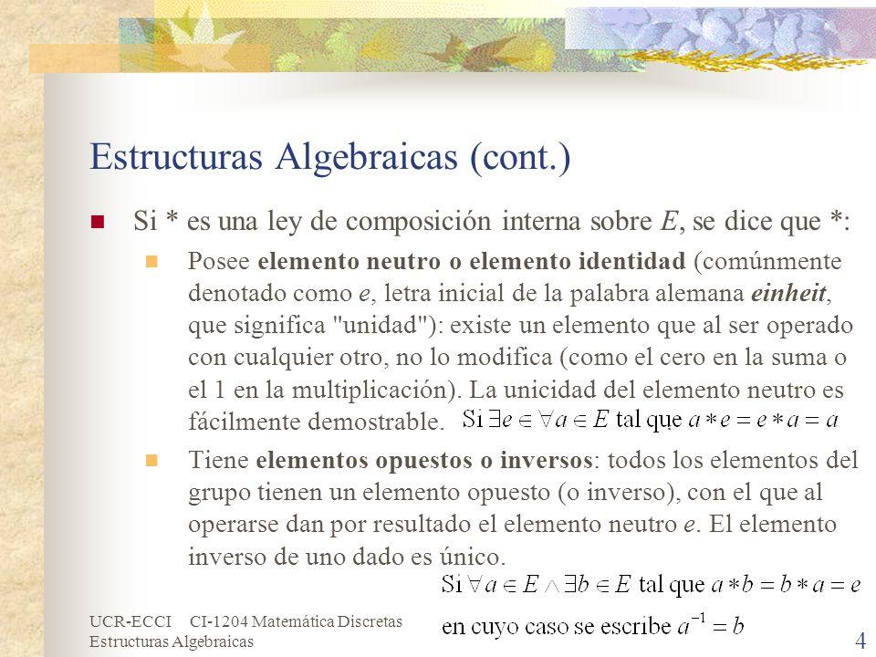 UCR-ECCI CI-1204 Matemática Discretas Estructuras Algebraicas 4 Estructuras Algebraicas (cont.) Si * es una ley de composición interna sobre E, se dic