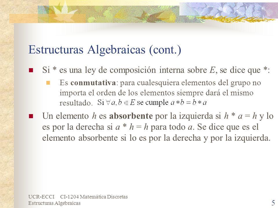 UCR-ECCI CI-1204 Matemática Discretas Estructuras Algebraicas 5 Estructuras Algebraicas (cont.) Si * es una ley de composición interna sobre E, se dic