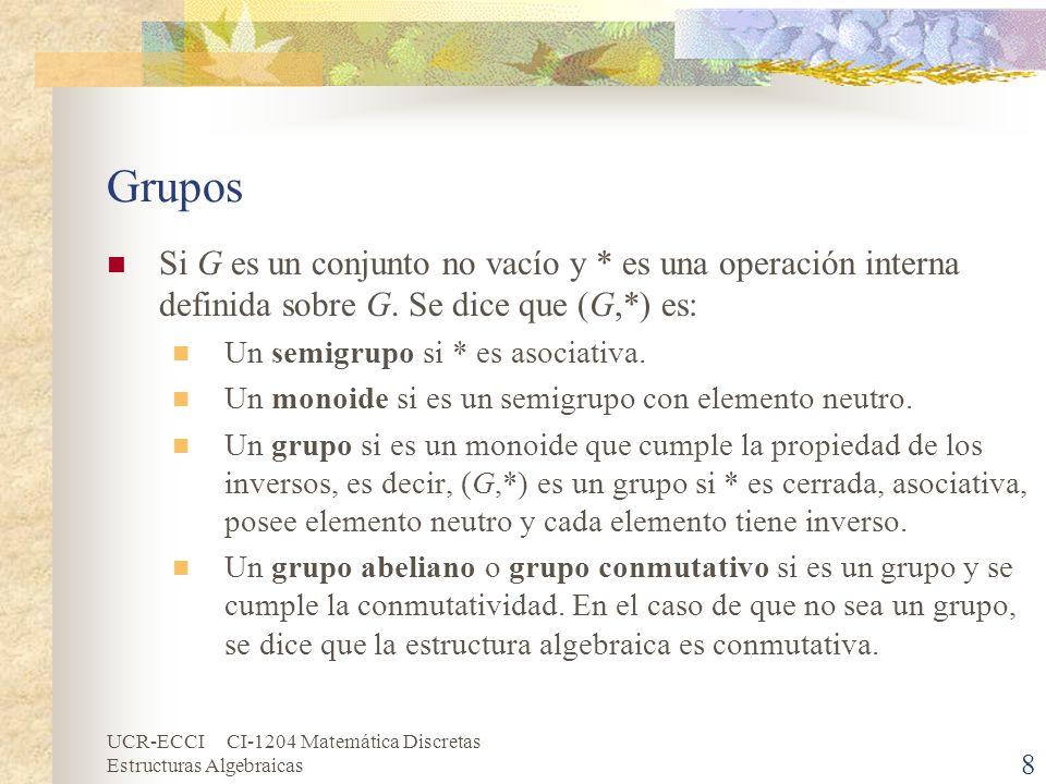 UCR-ECCI CI-1204 Matemática Discretas Estructuras Algebraicas Grupos Si G es un conjunto no vacío y * es una operación interna definida sobre G. Se di