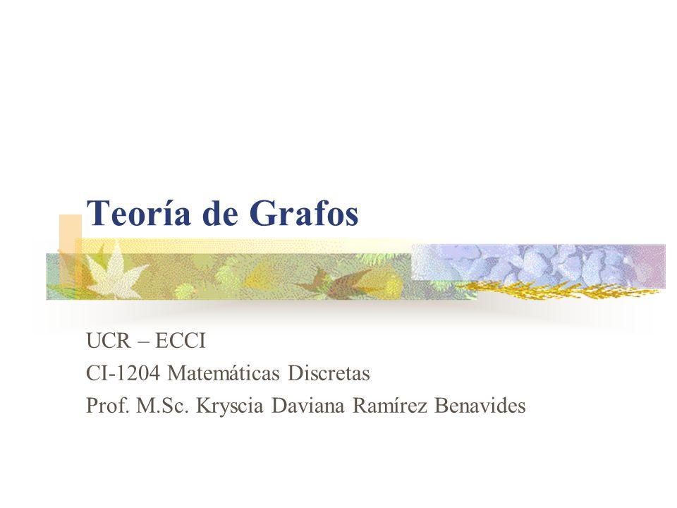 Teoría de Grafos UCR – ECCI CI-1204 Matemáticas Discretas Prof. M.Sc. Kryscia Daviana Ramírez Benavides