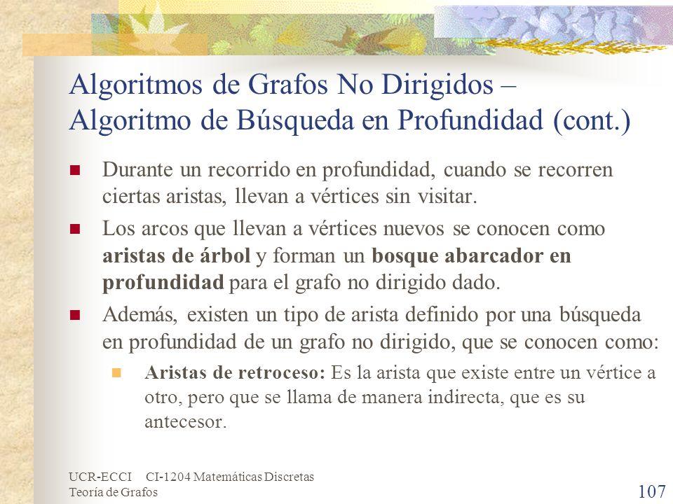 UCR-ECCI CI-1204 Matemáticas Discretas Teoría de Grafos Algoritmos de Grafos No Dirigidos – Algoritmo de Búsqueda en Profundidad (cont.) Durante un re