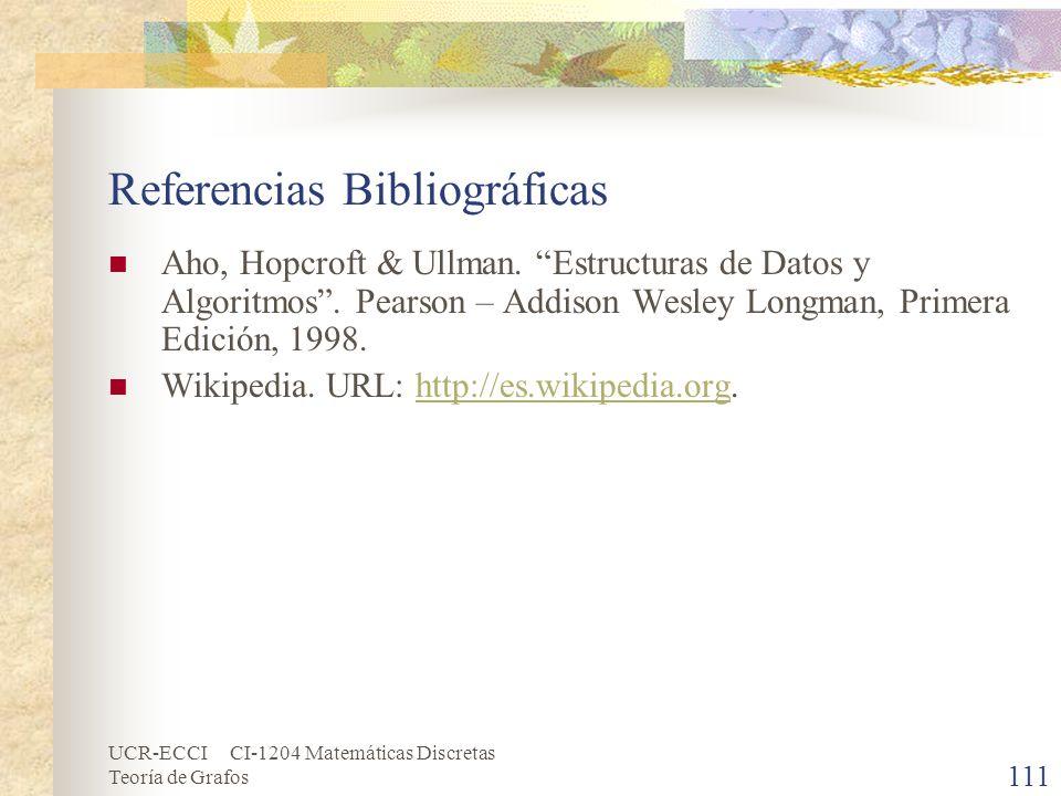 UCR-ECCI CI-1204 Matemáticas Discretas Teoría de Grafos 111 Referencias Bibliográficas Aho, Hopcroft & Ullman. Estructuras de Datos y Algoritmos. Pear