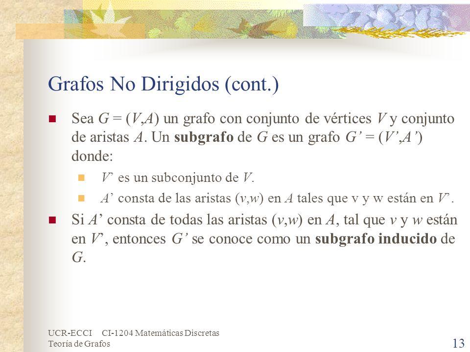 UCR-ECCI CI-1204 Matemáticas Discretas Teoría de Grafos Grafos No Dirigidos (cont.) Sea G = (V,A) un grafo con conjunto de vértices V y conjunto de ar